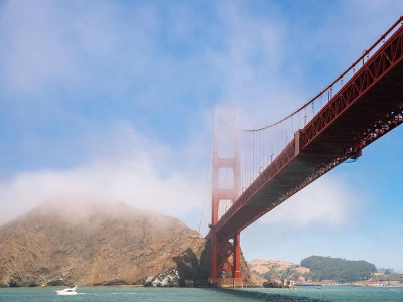 View underneath the Golden Gate Bridge on a cruise