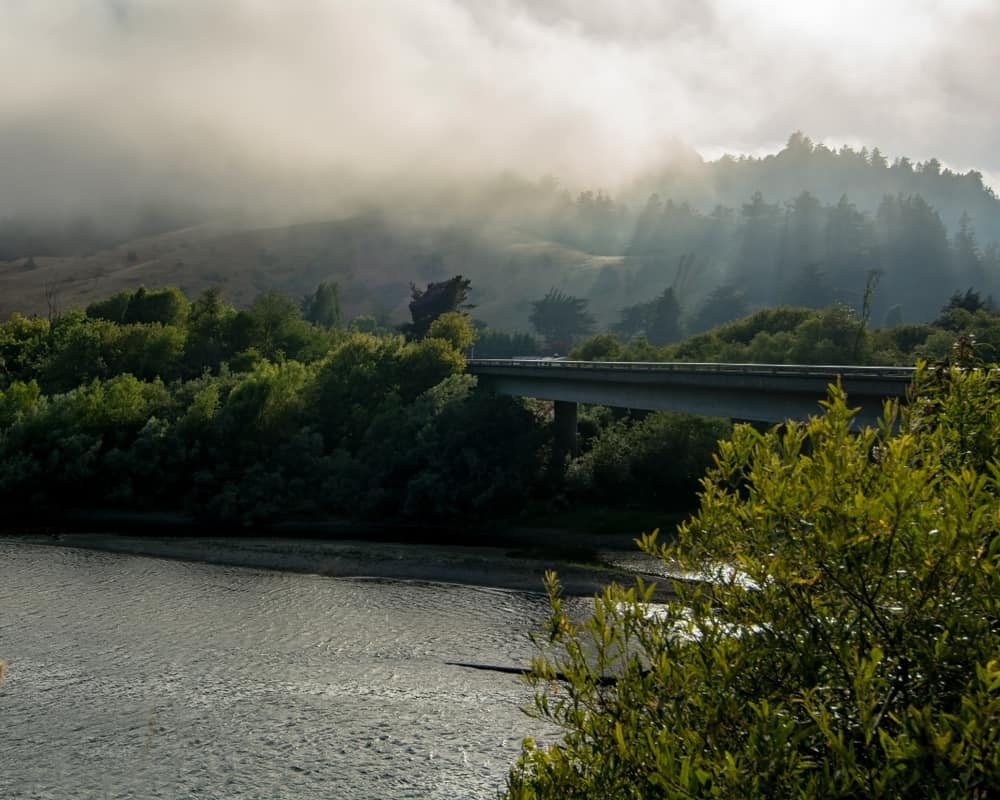 Foggy weather and Russian river in background with green trees on river banks