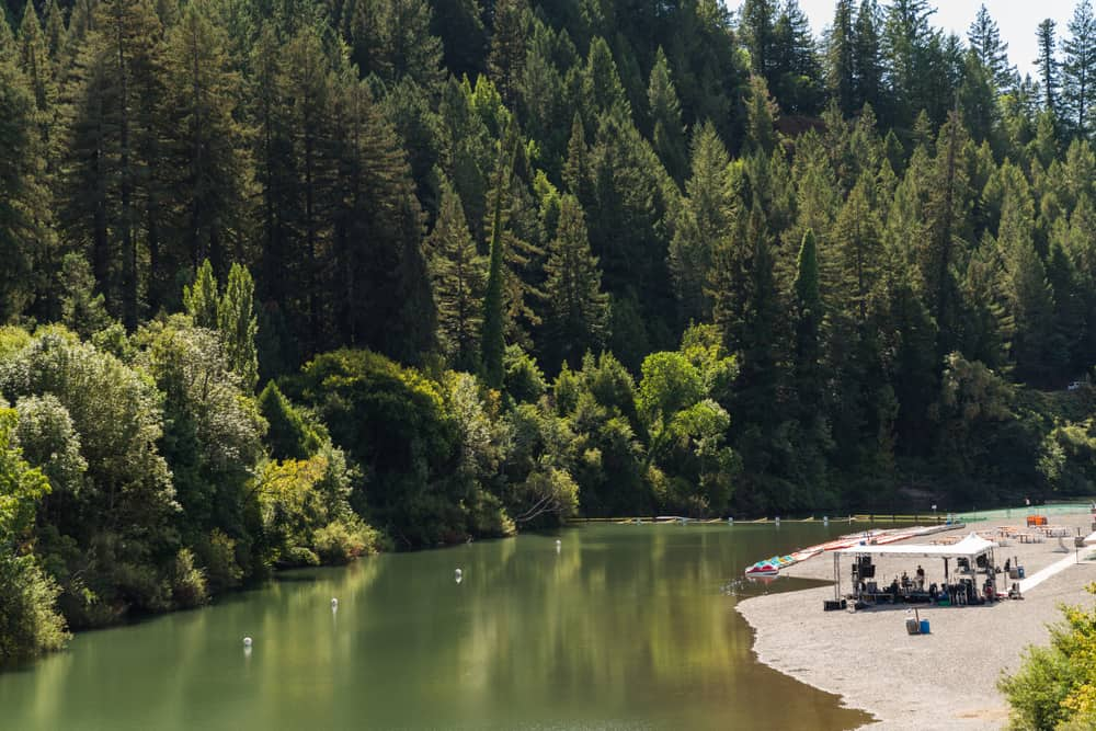 Banks of the Russian River with people and green trees