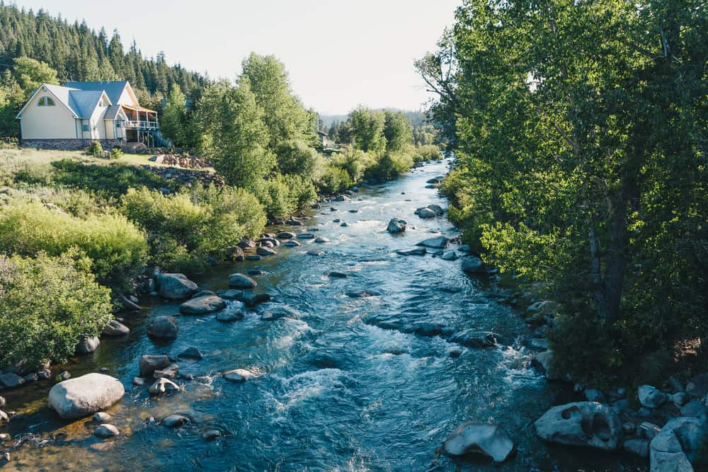 A flowing Truckee River with greenery on each side and a few cabins and houses bordering the river on an overcast day near Lake Tahoe