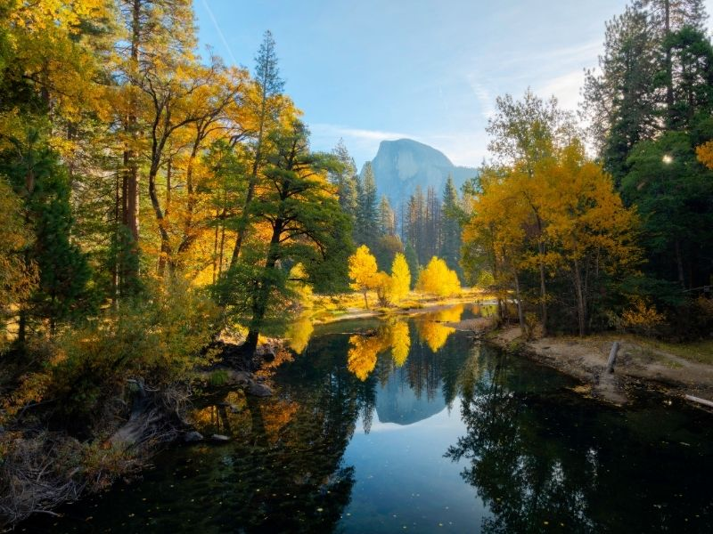 Ready to book your Yosemite Airbnb? Autumn view of Yosemite with yellow and orange trees with Half Dome.