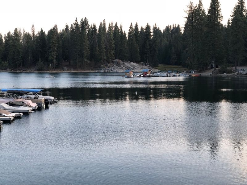 Smooth surface of calm lake with dark water and boats with pine trees in background and some cabins in distance.
