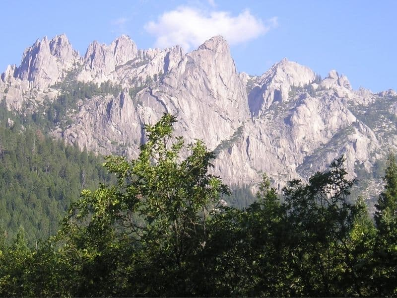 Gray craggy mountain peaks in background with some green trees and shrubbery in foreground.