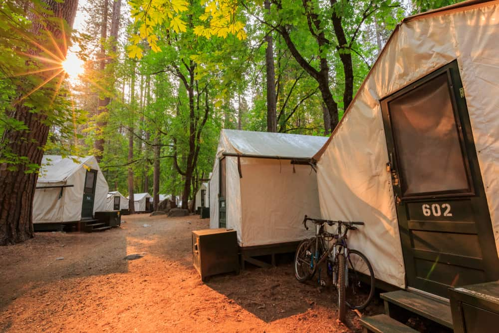 Canvas glamping tents in Yosemite forest with a bike outside one of teh tents.