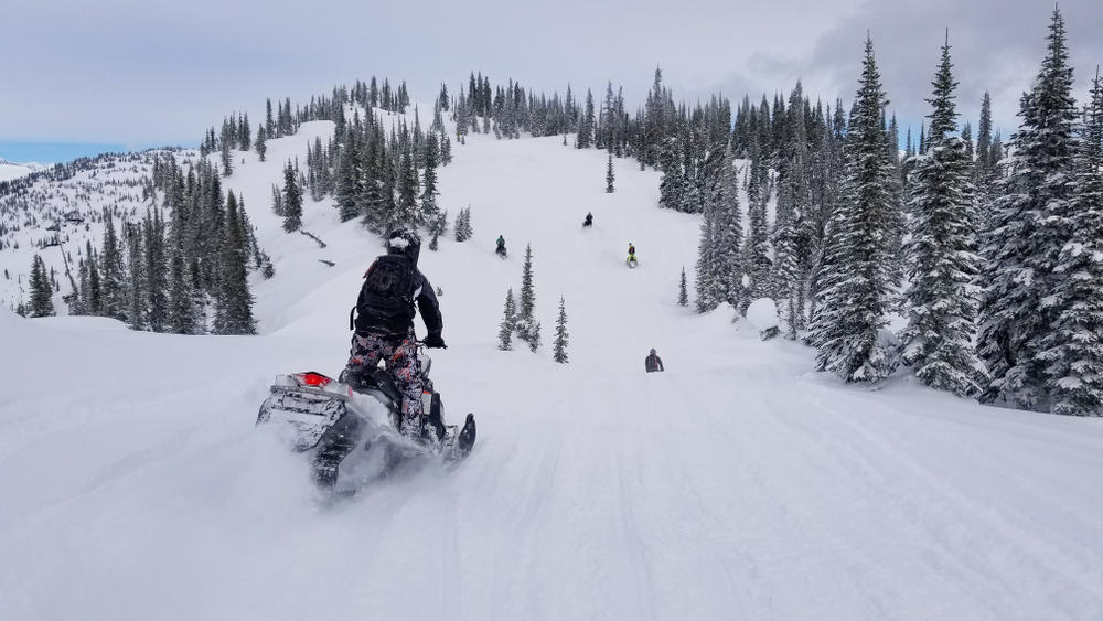 Man on snowmobile as it goes down a snowy slope with pine trees and cloudy sky.