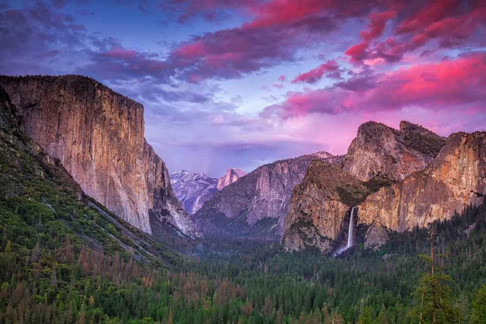Beautiful purple and magenta sunset over the Yosemite Valley granite and pines with waterfall