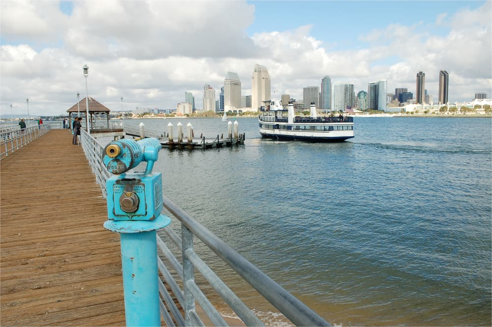 Sea with boats with skyline at ferry terminal with a turquoise viewing scope