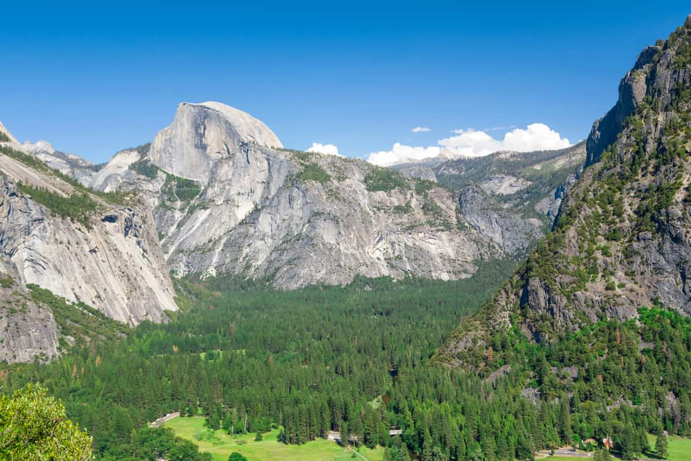 Views of green pine trees and granite landscapes, including Half Dome, from Columbia Rock viewpoint.