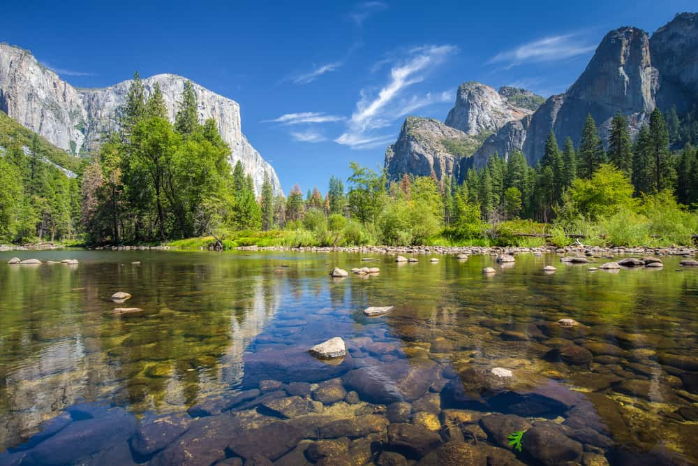 Clear, still water in foreground with rocks with Yosemite trees and landscape in background with blue sky.