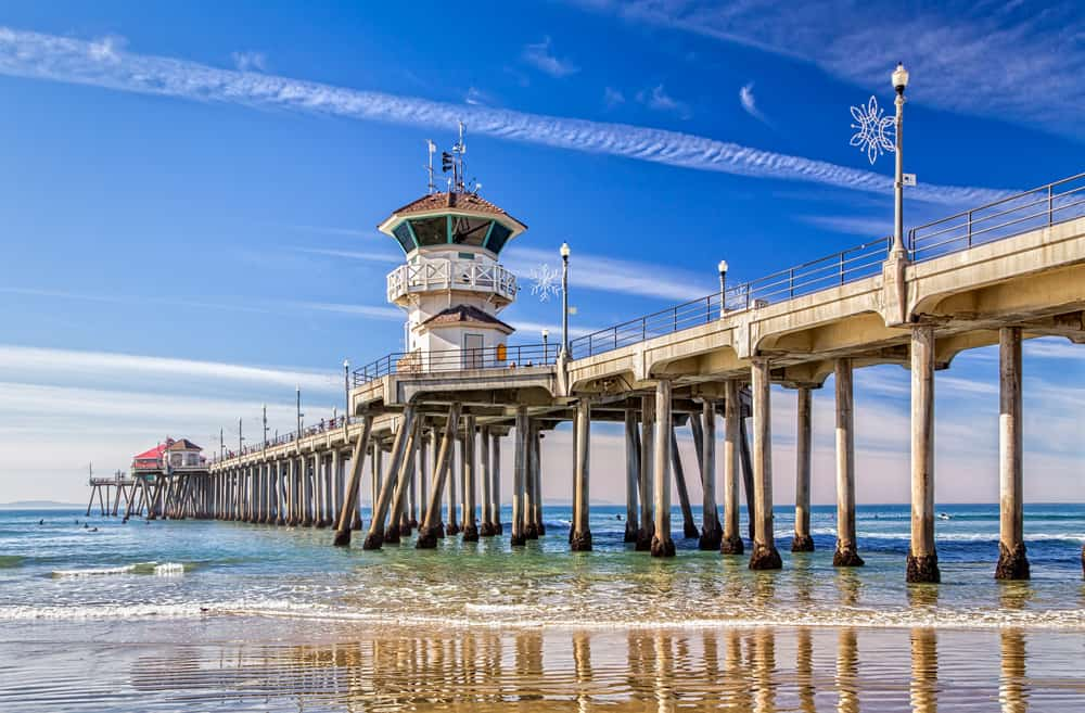 the wooden pier at huntington beach