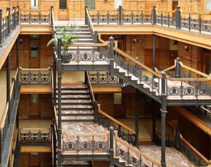 the bradbury building in los angeles