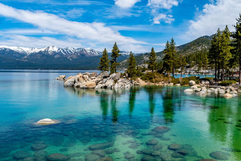 Clear water in Lake Tahoe that is turquoise, almost green, with rocks and pine trees on shore and snow-capped mountains in the distance.