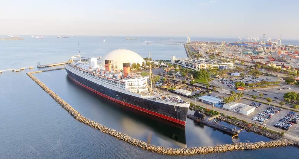 giant moored boat the queen mary in long beach california on the water in the marina