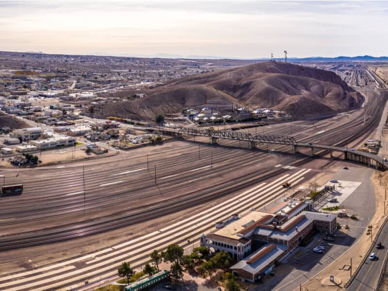 Aerial view of the railroad at Barstow, California, a waypoint on the Los Angeles to Las Vegas drive.
