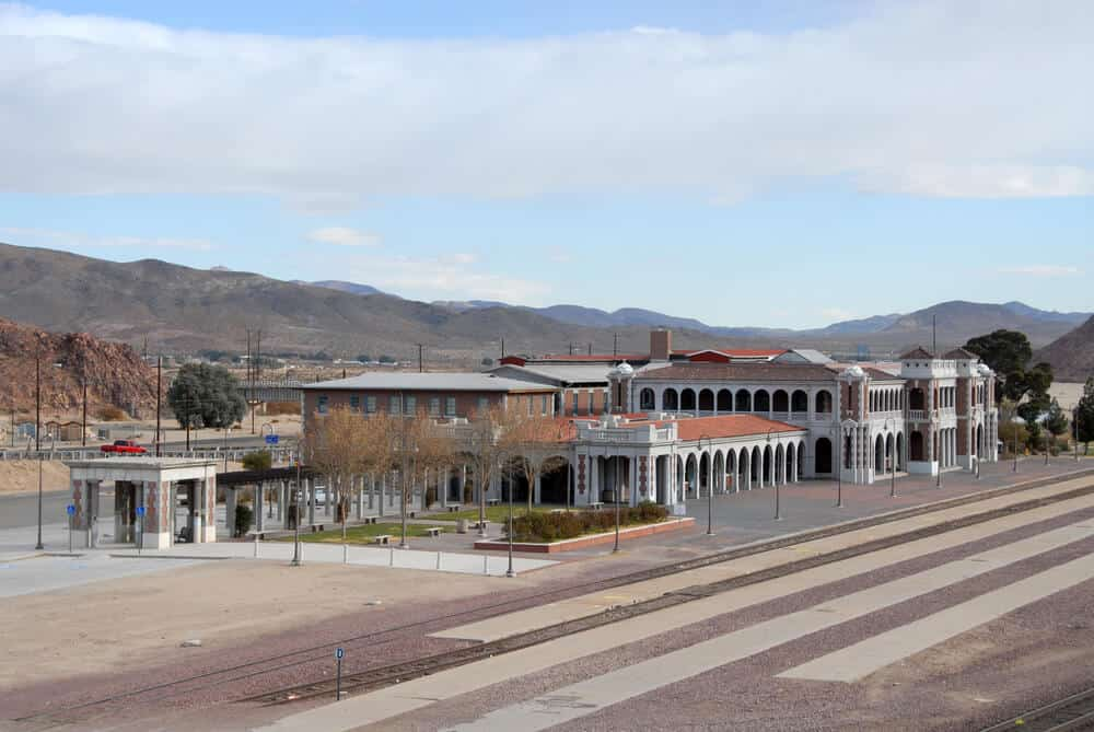 A view of a quiet railway station in good condition but with no one around to use it in the desert in Barstow California on the way between Los Angeles and Vegas
