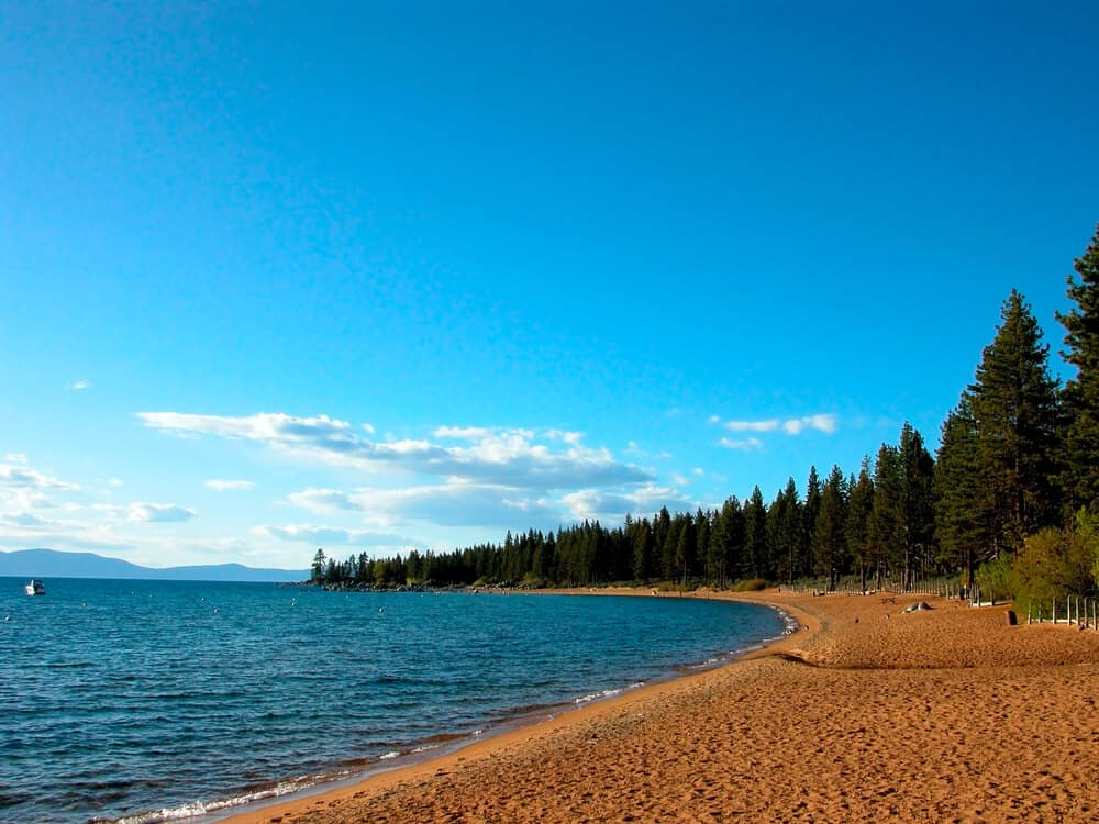 Sandy beach surrounded by pine trees at the pristine alpine Lake Tahoe, camping spots are located nearby.