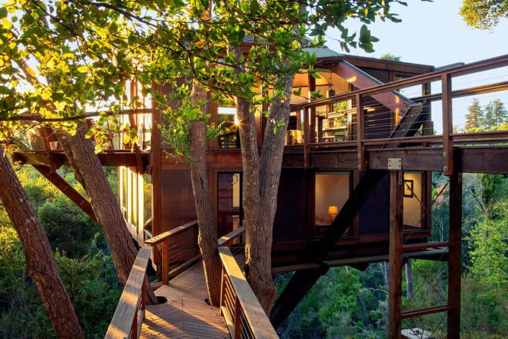 A pathway leading to a modern treehouse in the treetops in Santa Cruz, a beautiful treehouse rental in California