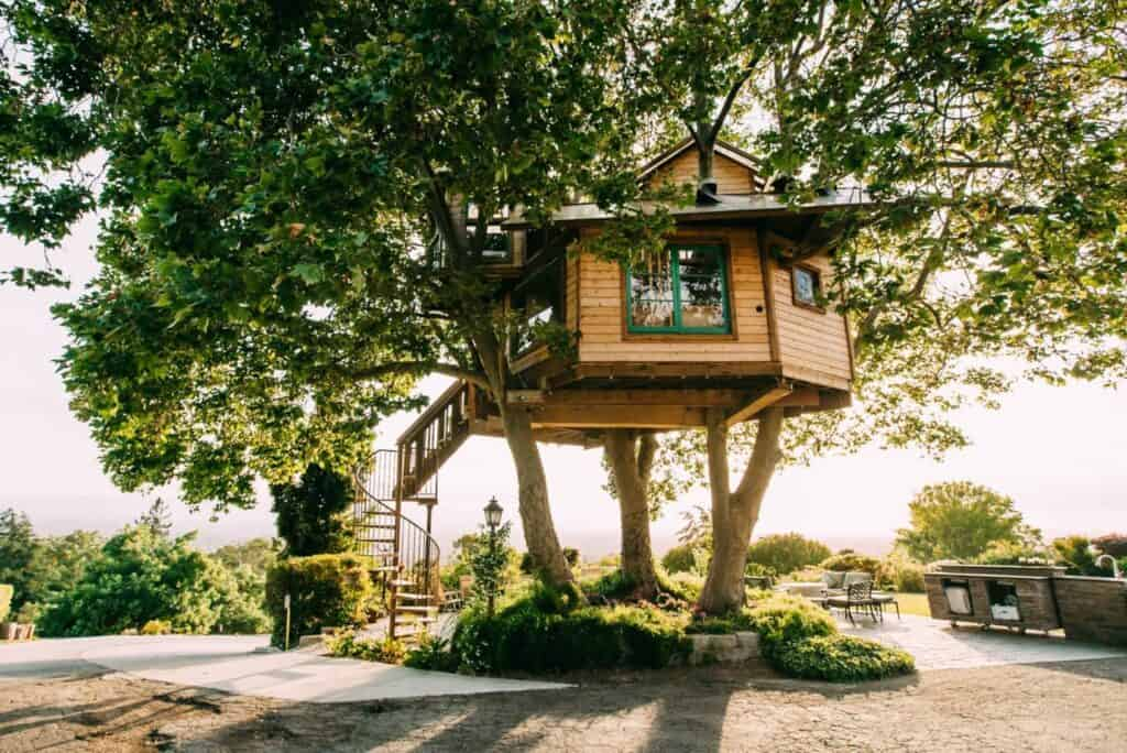 A raised treehouse in an oak-like tree surrounded by a beautiful backyard with a spiral staircase to enter the treehouse rental