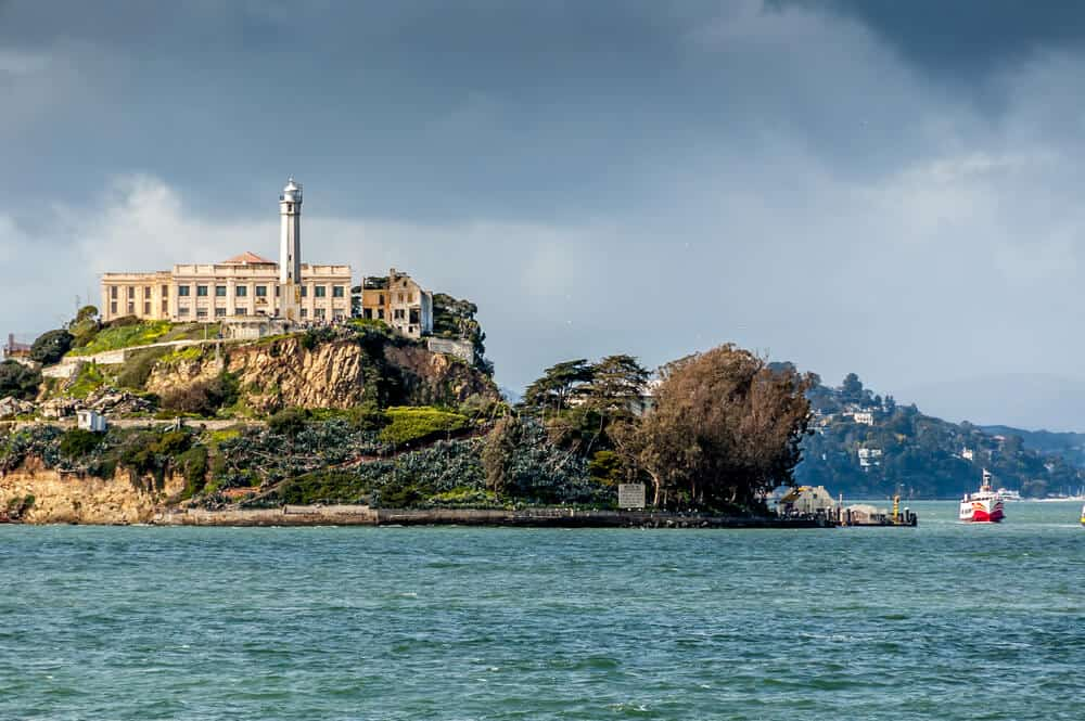 the island of alcatraz on a cloudy day