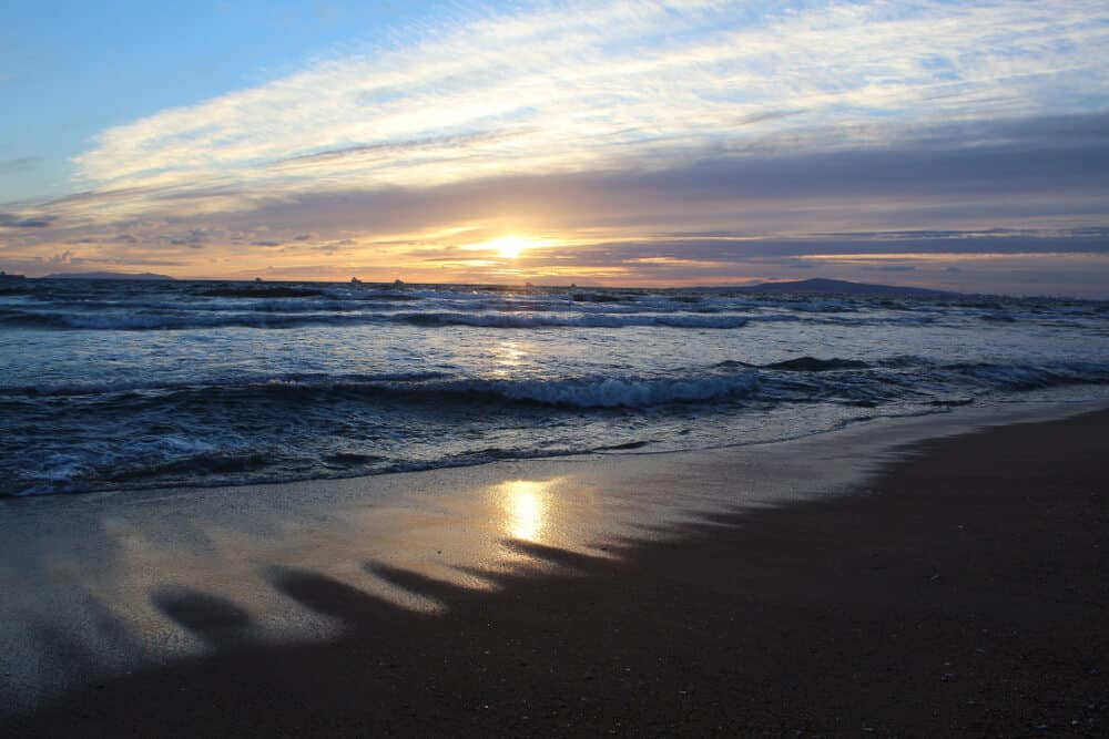Bolsa Chica State Beach at sunset, with waves crashing in the ocean, sunset mirroring in the water on the dark sand