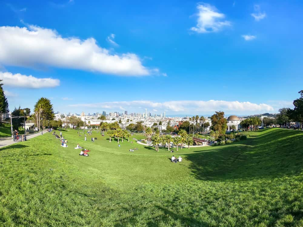 the grass at dolores park on a sunny day