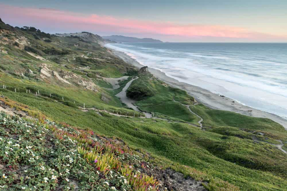 Sunset colors on the trails near the Fort Funston Coastal Trail in San Francisco