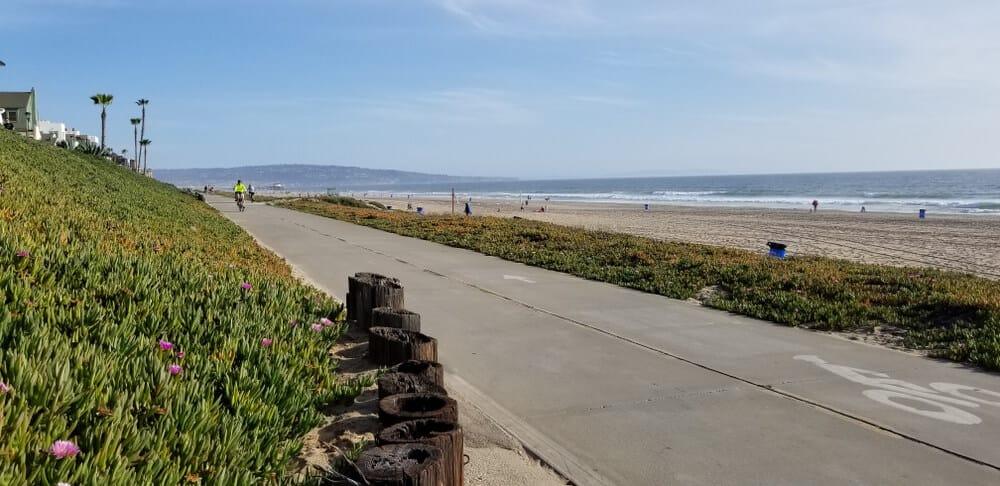 Bike path in Huntington Beach passing by the beautiful beach