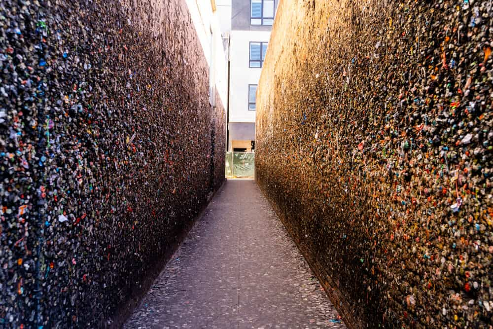 View down an empty alleyway in San Luis Obispo, each side of the alley is covered in hundreds or even thousands of pieces of used bubble gum in a variety of colors.