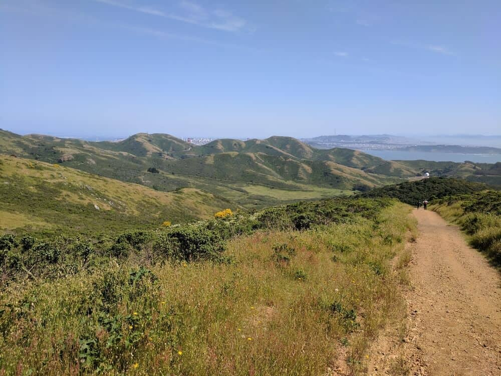 Tennessee Valley Hiking Trail: a reddish gravely trail surrounded by green brush and hills with the skyline of San Francisco is the distance as well as the San Francisco Bay on a popular North Bay hike