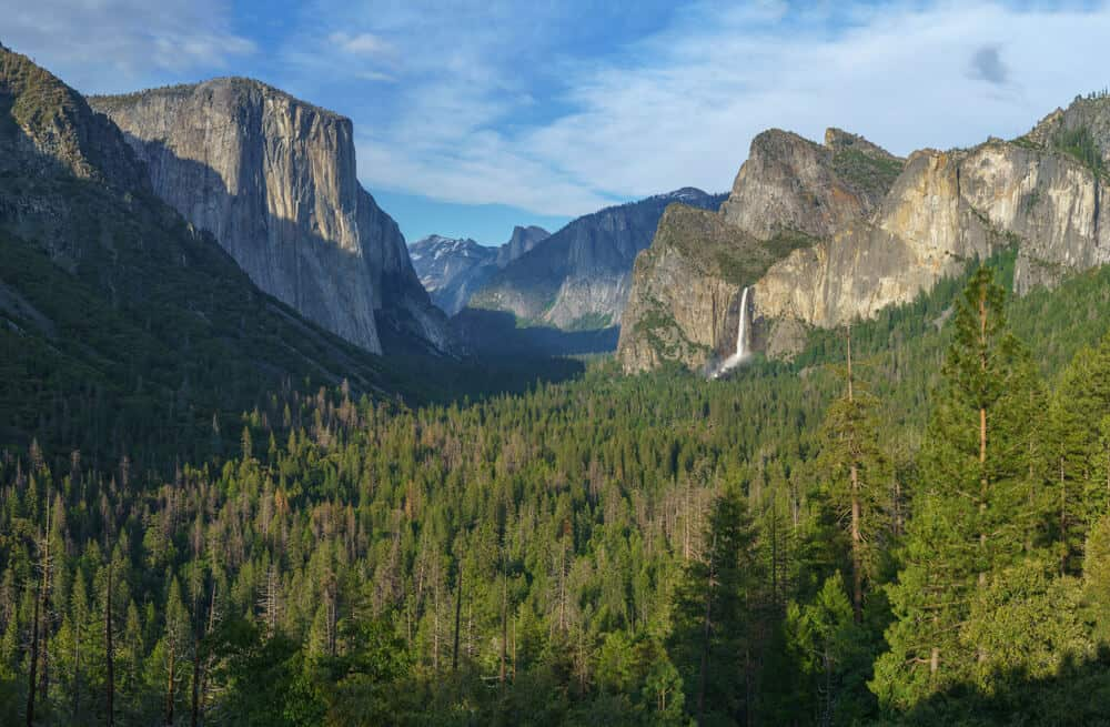 view from tunnel view over the evergreen trees of yosemite valley and the granite domes edging the valley