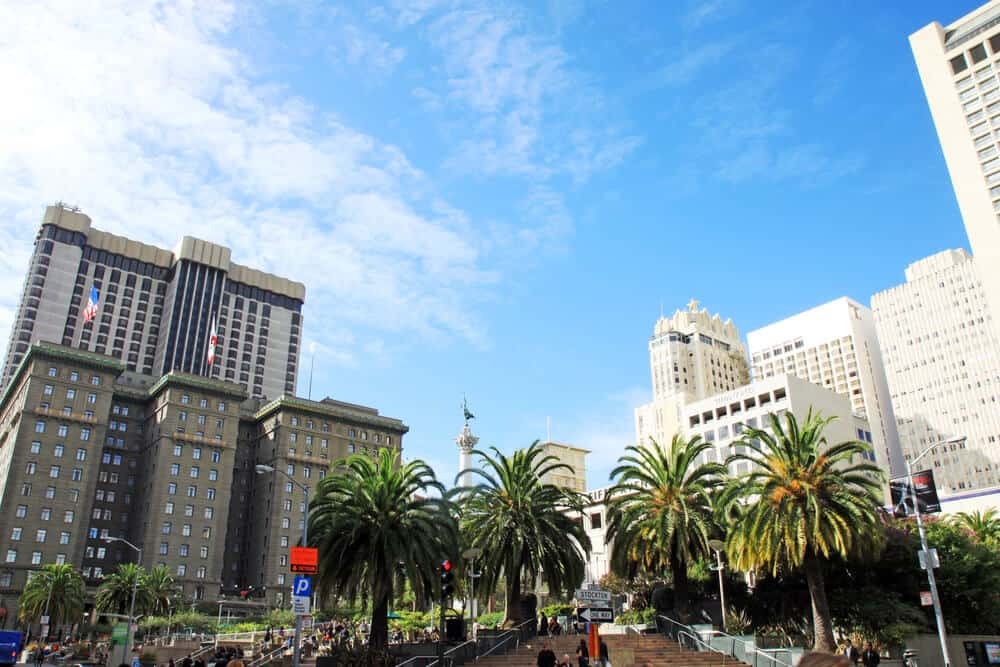 Palm trees in a share with lots of people in it surrounded by tall skyscrapers in Union Square San Francisco