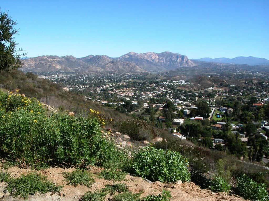 view over the city while hiking near san diego