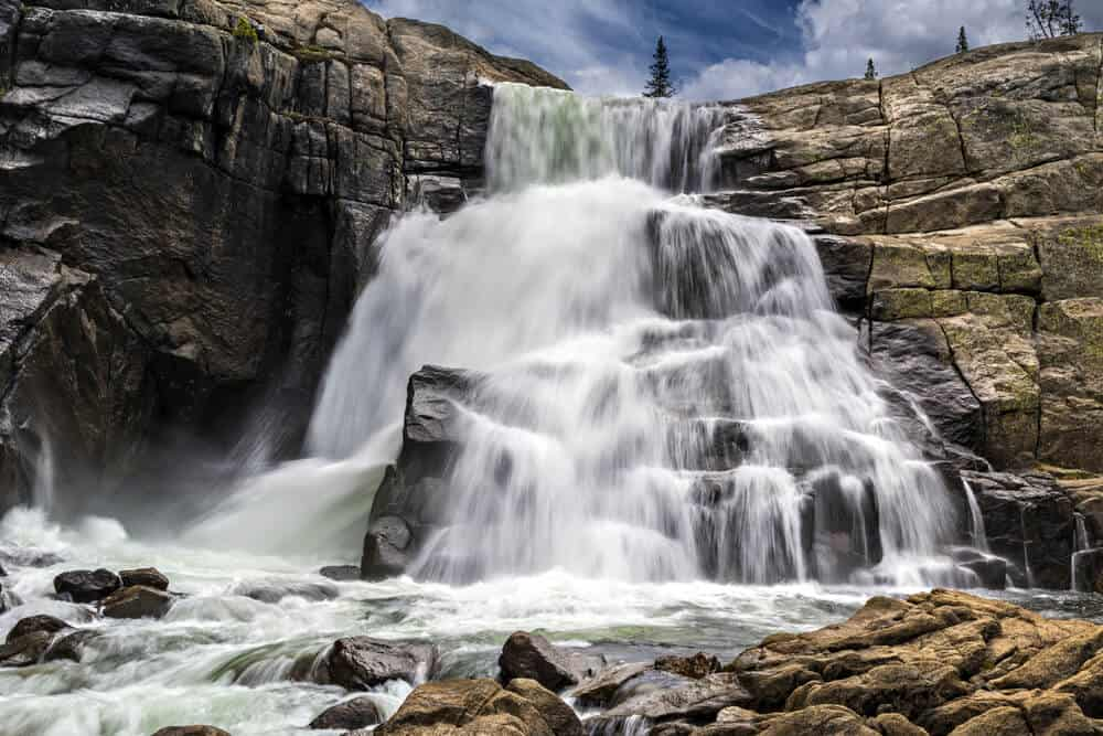 the rushing waterfall of glen aulin falls part of the john muir trail in tuolumne meadows