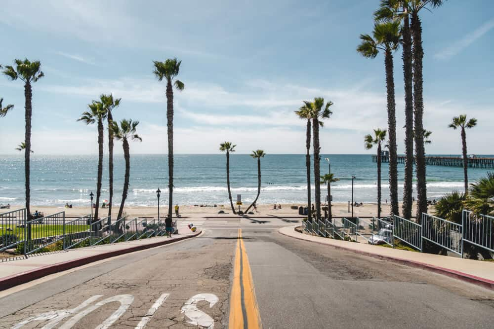 the street in oceanside california with palm trees and ocean