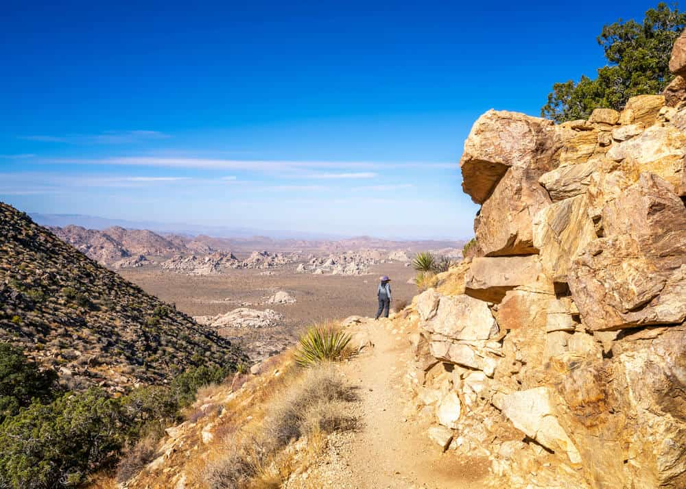 A woman in the distance on the hiking trail enjoying a Joshua Tree hike on the mountain with a view of the landscape of desert below