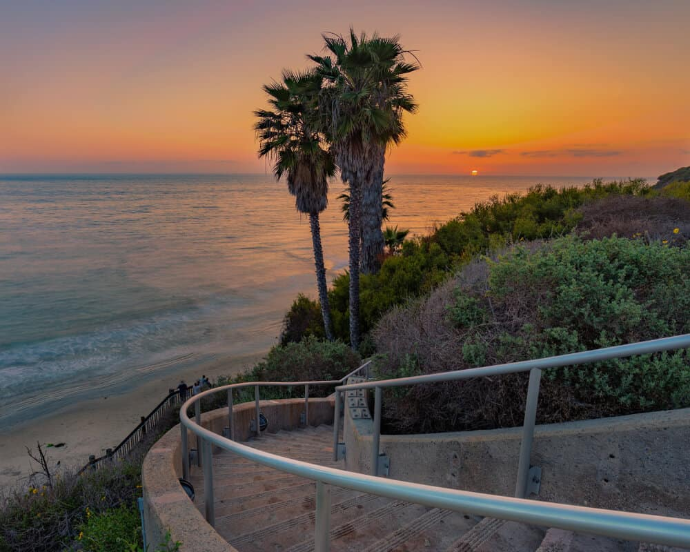sunset views over the pacific ocean with a cluster of palm trees, a winding staircase, and a beach at swamis in encinitas.
