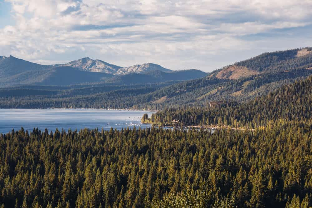 View of Meeks Bay over the evergreens surrounding Lake Tahoe