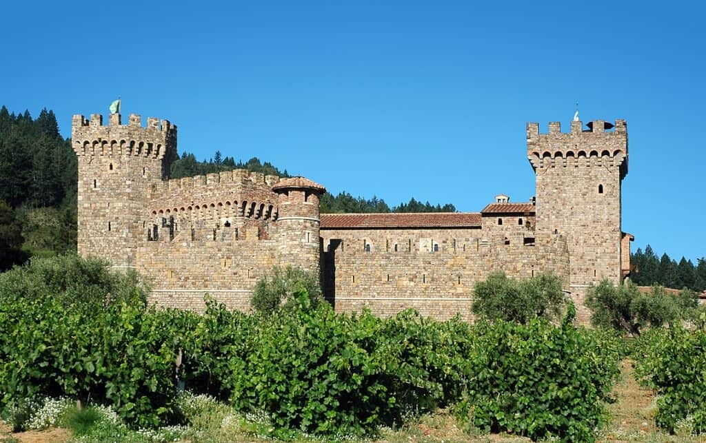 a stone castle done in the 12th or 13th century Italian medieval style in Calistoga California