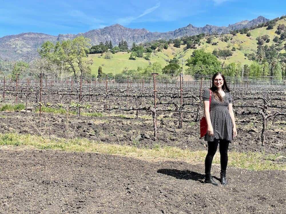 Allison enjoying wine tasting in March in Calistoga California