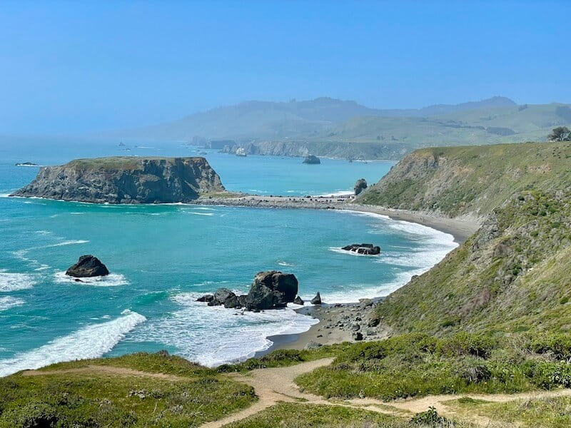 the famous goat rock beach of sonoma county as seen from the start of the kortum trail