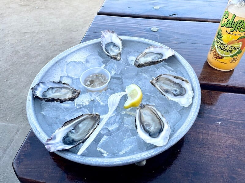 six oysters with mignonette and lemon