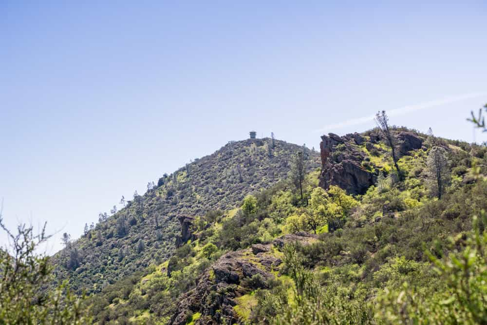 Green covered landscapes of PInnacles National Park, hiking up towards Prewett Point, view of North Chalone Peak in the distance