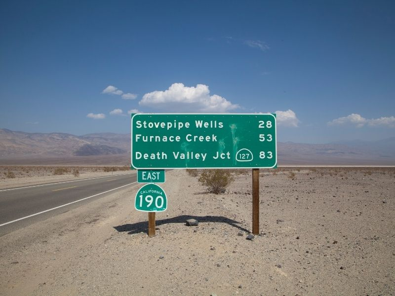 highway sign leading to different death valley landmarks