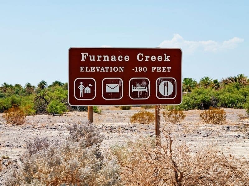 sign when entering furnace creek in death valley