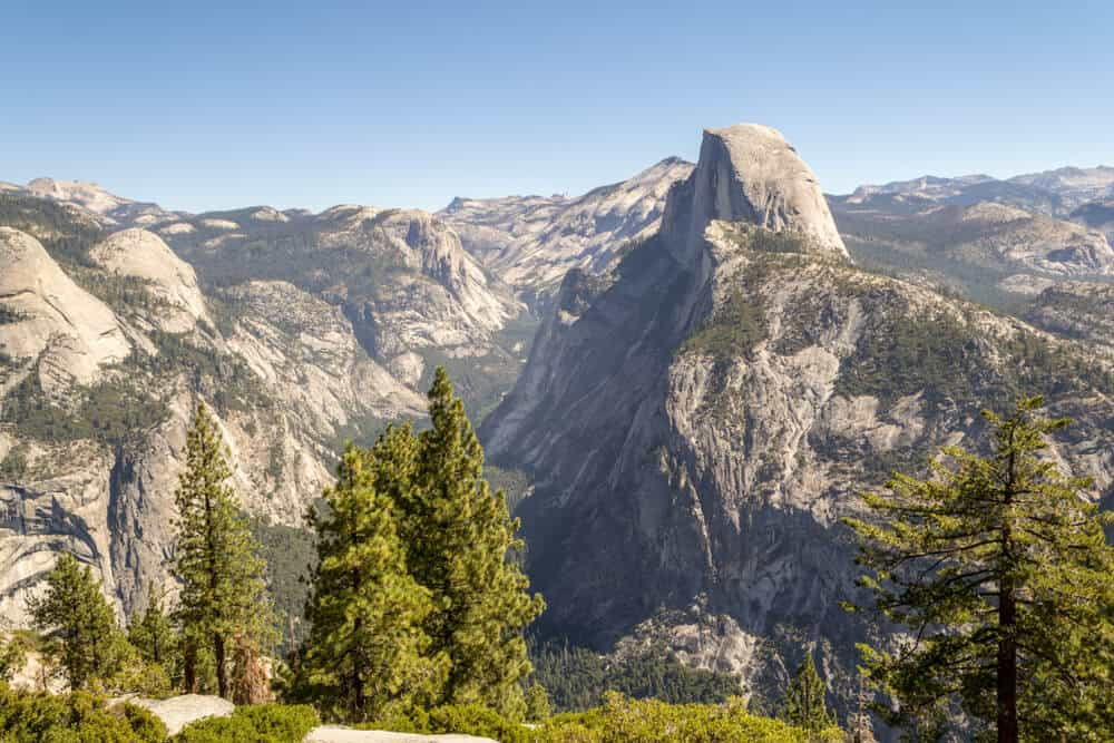 views of half dome as seen from glacier point in yosemite, a popular thing to do in yosemite national park