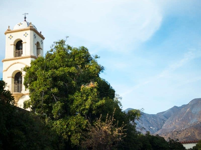 downtown ojai landscape with bell tower and mountains