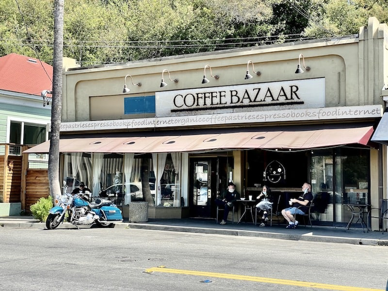 the storefront of coffee bazaar in guerneville