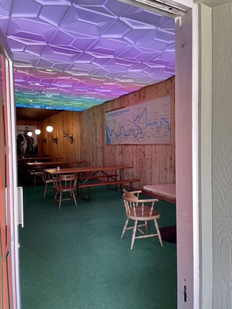 a rainbow-lit interior. ofa restaurant