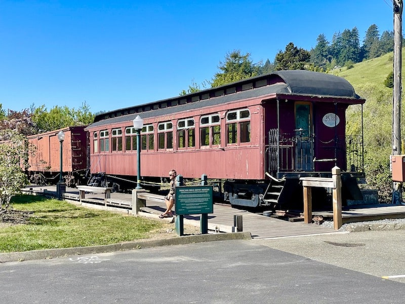 a restored railway car part of the last ever train ride to duncans mills from sausalito
