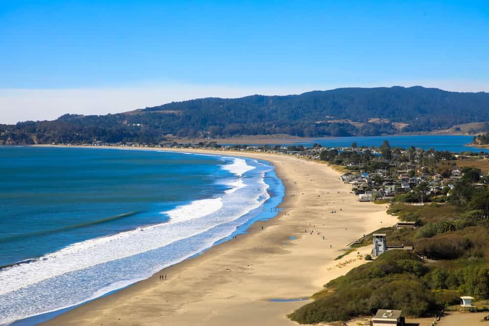 the beach of muir beach in marin leads to a marin coastal hiking trail to another marin beach